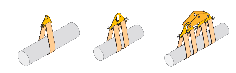 схема строповки труб мягкими полотенцами траверсой ПМ