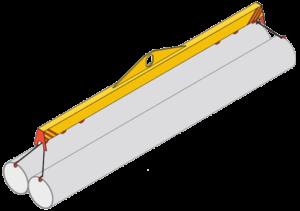 схема строповки трубы с помощью траверсы и торцевых захватов
